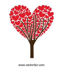 tree ramifications with hearts leaves