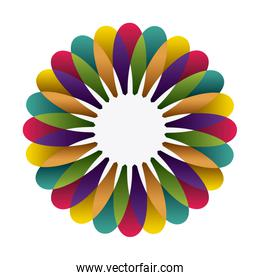 colorful circular frame formed by petals