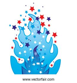 colorful silhouette with blue olympic flame with stars