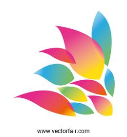 colorful silhouette with abstract petals