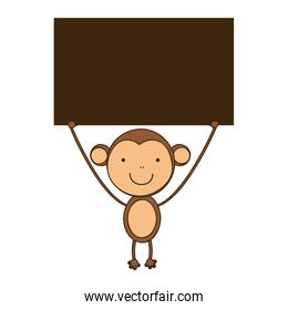 monkey with a wood in the hand icon
