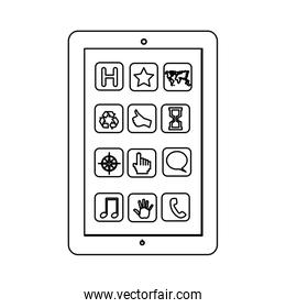 monochrome contour with tablet screen icons