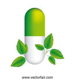 pill medical in capsule shape with decorative leaves