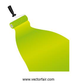 paint roller with stroke of paint green