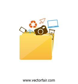 color silhouette of folder with personal files