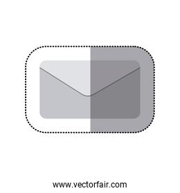 sticker grayscale silhouette with mail envelope