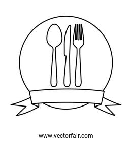 silhouette circular frame with ribbon and kitchen cutlery