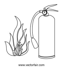 contour fire flame and extinguisher icon