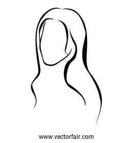 sketch female faceless silhouette with long hairstyle
