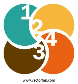 colorful circular figures with numeration