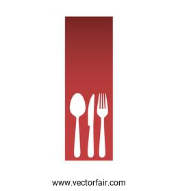 red rectangle banner frame with silhouettes cutlery kitchen elements