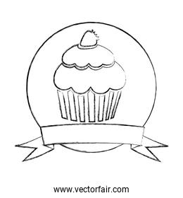 monochrome sketch of circular frame with ribbon and cupcake