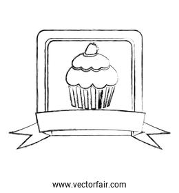 monochrome sketch of square frame with ribbon and cupcake