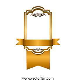 yellow square emblem with ribbon icon