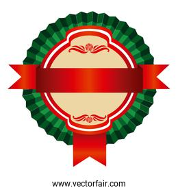 green round emblem with ribbon icon