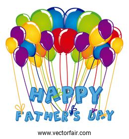 father's day celebration with colorful balloons of close up