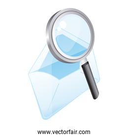 magnifying glass with letter icon