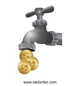 faucet with coins save water