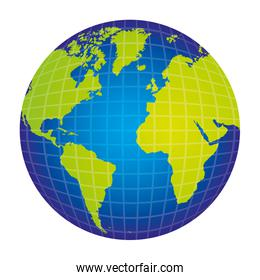 colorful silhouette with world map view front side