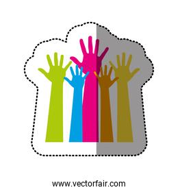 color hands up icon