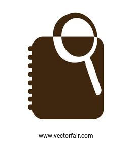 silhouette magnifying glass with notebook with rings