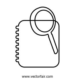 notebook with magnifying glass icon