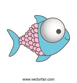 happy fish cartoon icon