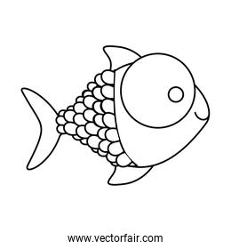 figure happy fish cartoon icon
