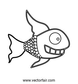 figure fun fish carucature icon