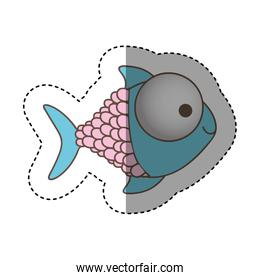 color happy fish cartoon icon