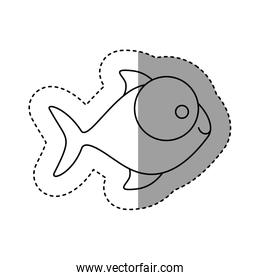 silhouette fish with big eyes icon