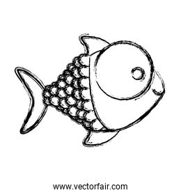 contour happy fish cartoon icon
