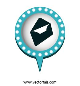 envelope mail in circular speech with blue contour with dotted and tail