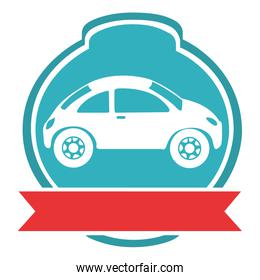 emblem car with ribbon isolated icon