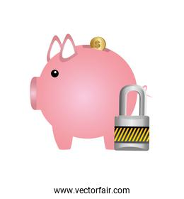 pig save coins money with padlock