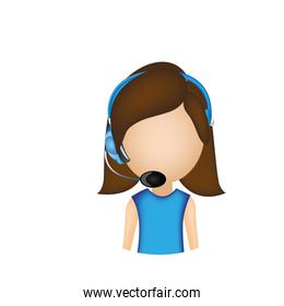 woman call center with headphone