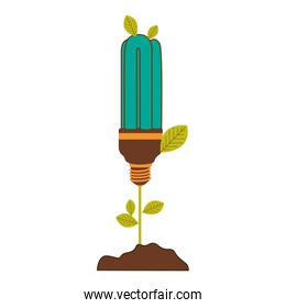 plant stem with leaves and fluorescent bulb with light turquoise