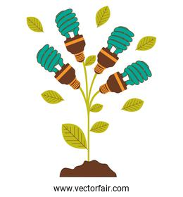 plant stem with leaves and fluorescent bulbs spiral with light turquoise