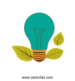light bulb color turquoise and leaves