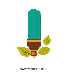 fluorescent bulb in color turquoise with leaves