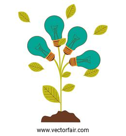 plant stem with leaves and Incandescent bulbs with light turquoise