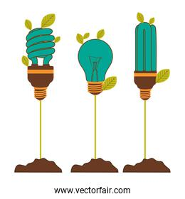 Incandescent and fluorescent bulbs in color turquoise with stem and leaves