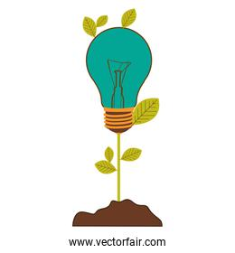 plant stem with leaves and Incandescent bulb with light turquoise