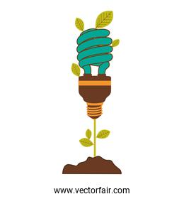 plant stem with leaves and fluorescent bulb spiral with light turquoise