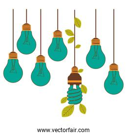 bulbs hanging with save bulb leaves icon