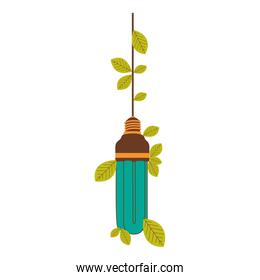 eco   bulb hanging with leaves
