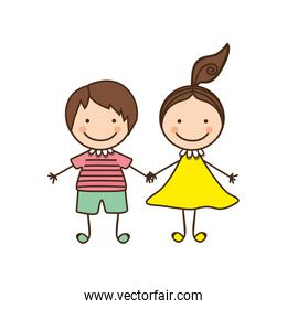couple boy and girl cartoons icon
