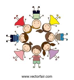 colorful circular shape with group cartoon children