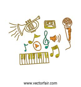 music instrument with notes musicals icon