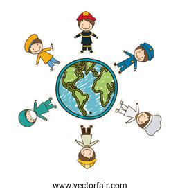 colorful caricature male people professions around world earth map